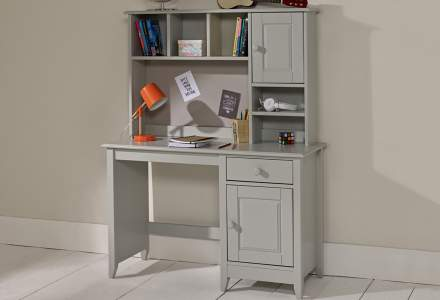 Jubilee Desk with Hutch in Soft Grey