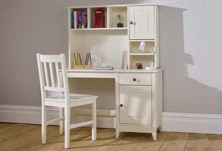 Jubilee Desk with Hutch in Ivory White