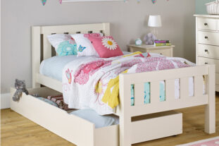 Jubilee Single Bed in Ivory White with Trundle