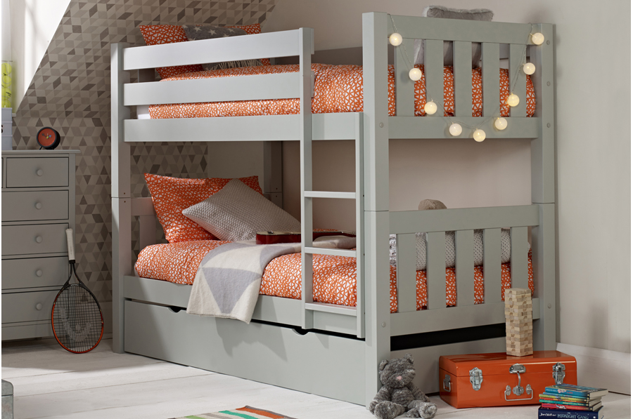 the latest 135a8 e3a58 Jubilee Bunk Bed in Soft Grey with Trundle