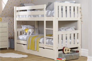Jubilee Bunk Bed in Ivory White with Trundle