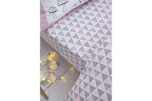 Pink and Grey Geometric Fitted Sheet (90x190cm)