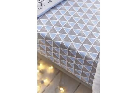 Blue and Grey Geometric Fitted Sheet (90x190cm)
