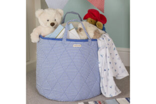 Blue Gingham Toy Basket