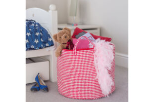 Red Gingham Toy Basket