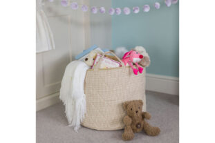 Neutral Gingham Toy Basket