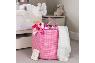 Pink Gingham Toy Basket