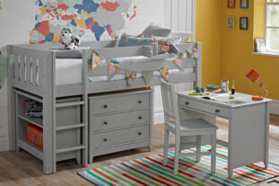 Jubilee Midsleeper with desk, chest & bookcase