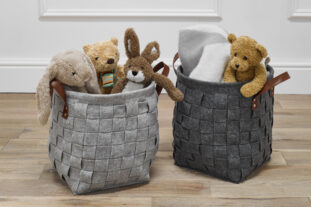Weaved Felt Circular Storage Basket