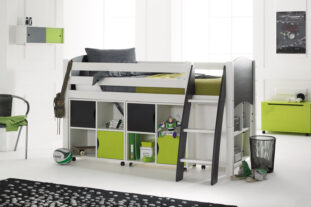Scallywag Cabin Bed with 3 Quad Shelving units (doors optional)