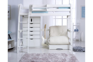 Scallywag High Sleeper with 5 Drawer chest and Chair bed