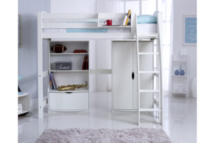 Scallywag High Sleeper with Bookcase and Wardrobe