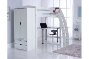 Scallywag High Sleeper with Desk and 2 Drawer Wardrobe