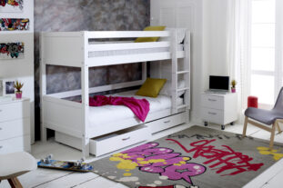 Nordic Bunk Bed 2 with under bed drawers (grooved panels)