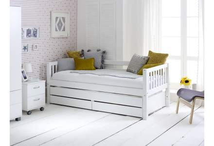 Nordic Day Bed with drawers & trundle (slatted end panels)