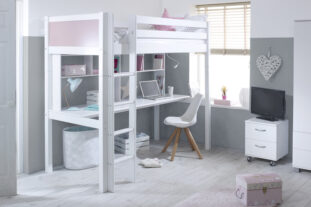 Nordic High sleeper 2 with long desk & shelving (colour panels)