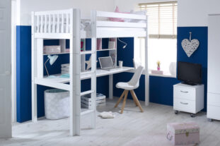 Nordic High sleeper 2 with long desk & shelving (slatted panels)