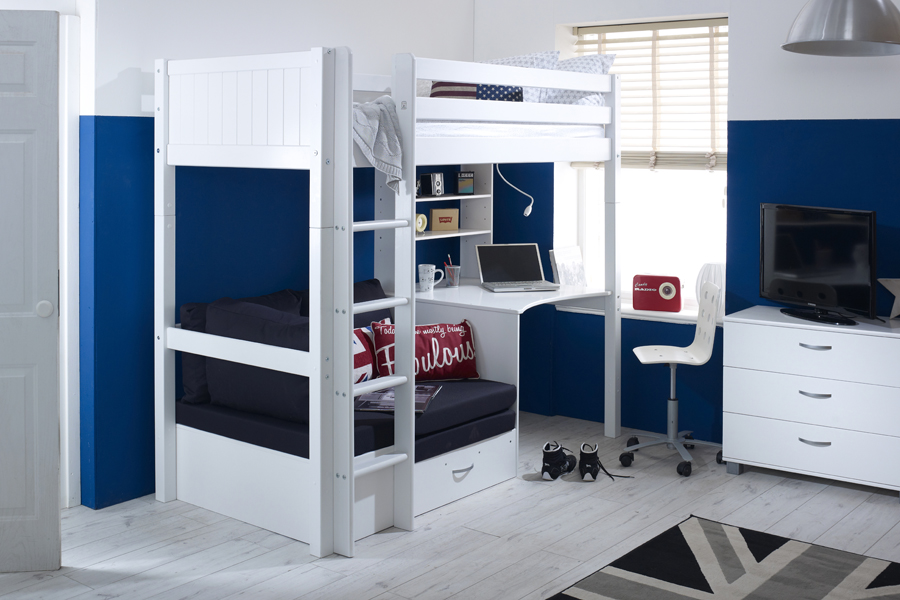 Nordic High Sleeper 3 With Desk Shelving And Chair Bed Grooved Panels