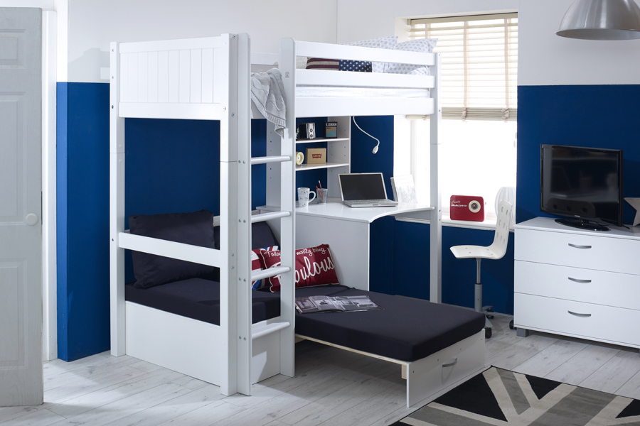 Nordic High Sleeper 3 With Desk And Sofa Chair