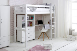 Nordic High sleeper 4 with corner desk, chest and bookcase (slatted panels)