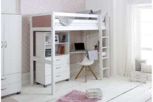 Nordic High sleeper 4 with corner desk, chest and bookcase (colour panels)