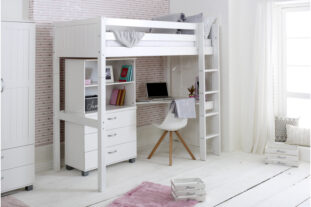 Nordic High sleeper 4 with corner desk, chest and bookcase (grooved panels)