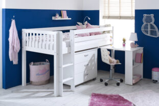 Nordic Mid sleeper 2 with pull out desk and chest (slatted panels)