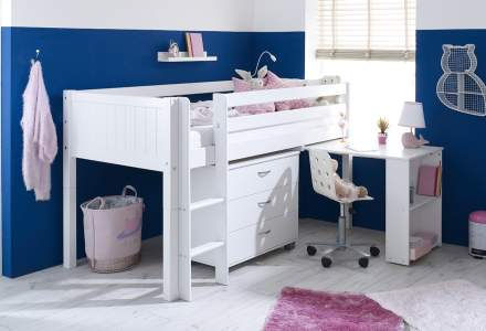 Nordic Mid sleeper 2 with pull out desk and chest (grooved panels)