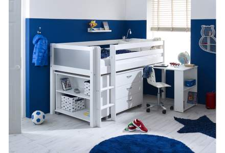 Nordic Mid sleeper 1 with desk, chest and bookcase