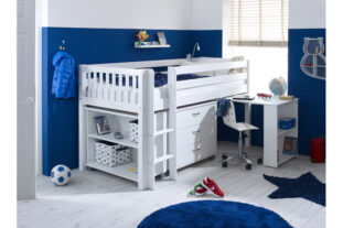 Nordic Mid sleeper 3 with desk, chest and bookcase (slatted panels)