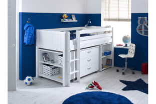 Nordic Midsleeper 3 with desk, chest and bookcase (grooved panels)