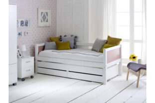 Nordic Day Bed with drawers & trundle (colour end panels)