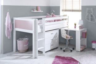 Nordic Midsleeper 2 with pull out desk and chest (colour panels)
