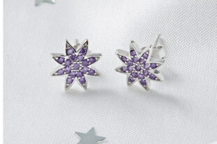 Sterling Silver Star Earrings - Lilac