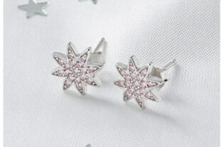 Sterling Silver Star Earrings - Pink