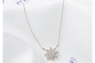 Sterling Silver Star Pendant - Pink
