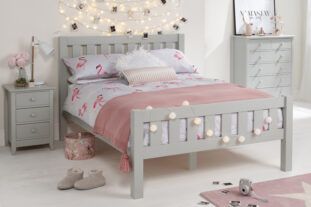 Jubilee Room Set L - Double Bed, 4+2 Chest & Bedside in Soft Grey