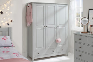 Jubilee Triple Wardrobe in Soft Grey