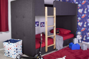 Frankie Upholstered Bunk Bed in Charcoal