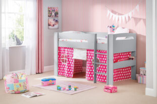 Hudson Grey Midsleeper with Pink and White Stars Tent