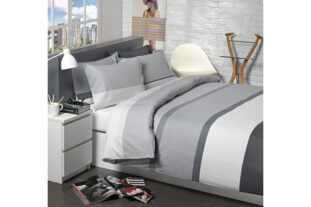 Grey Block Stripe Double Duvet Set