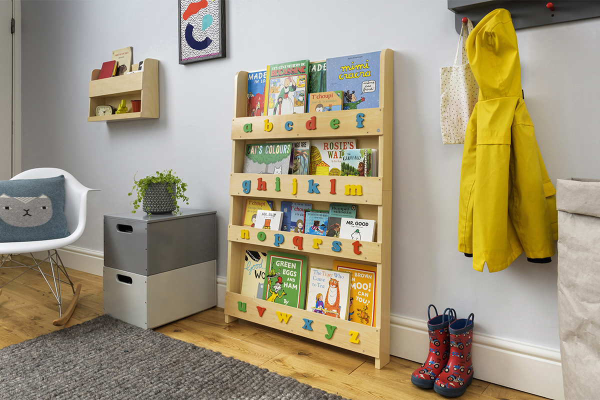 Wood Bookcase With Letters
