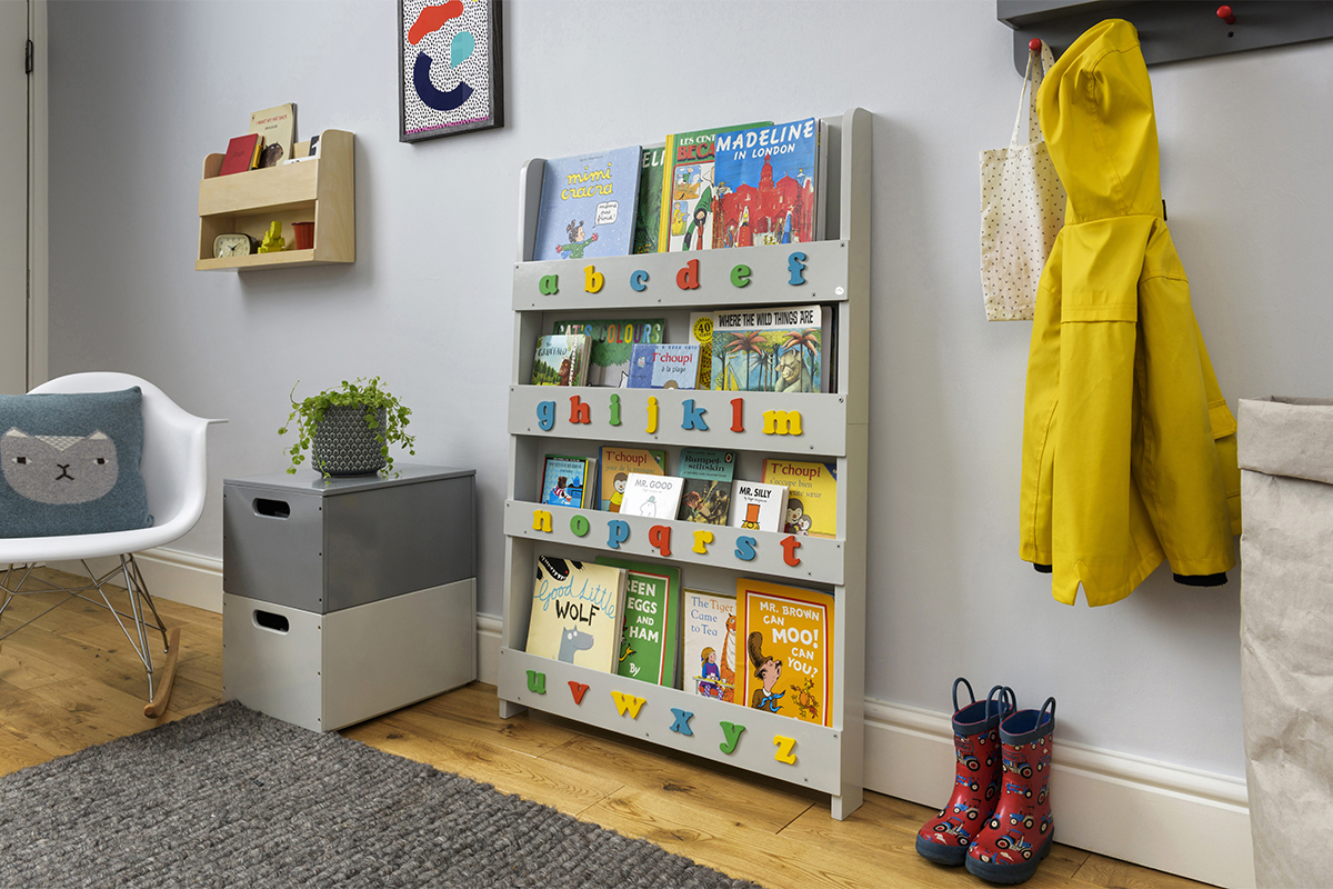 Grey Children's Bookcase With Letters