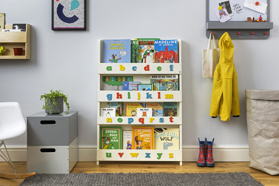 bookcase with letters soft white