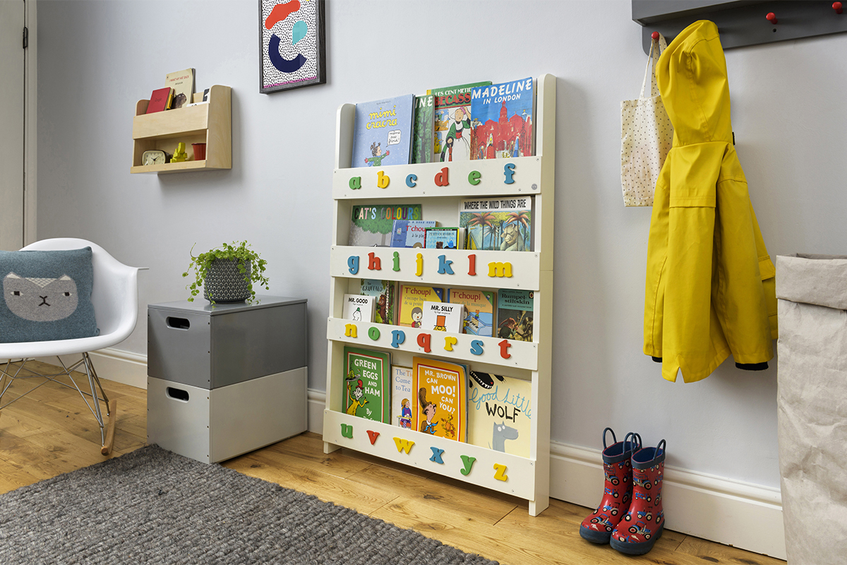 Children's Open Facing Bookcase With Lowercase Letters