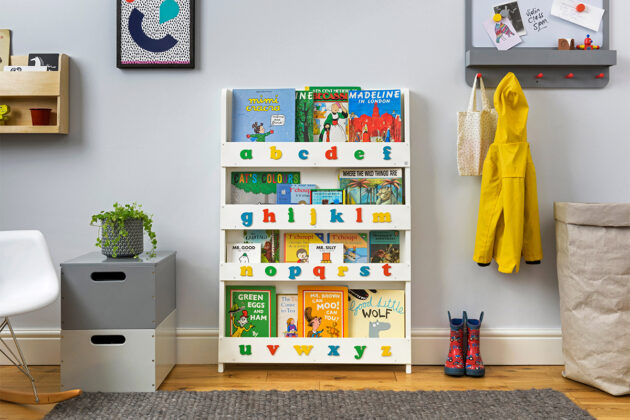 bookcase with letters white