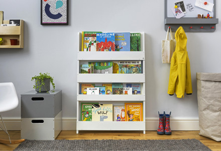 White Open Facing Bookcase