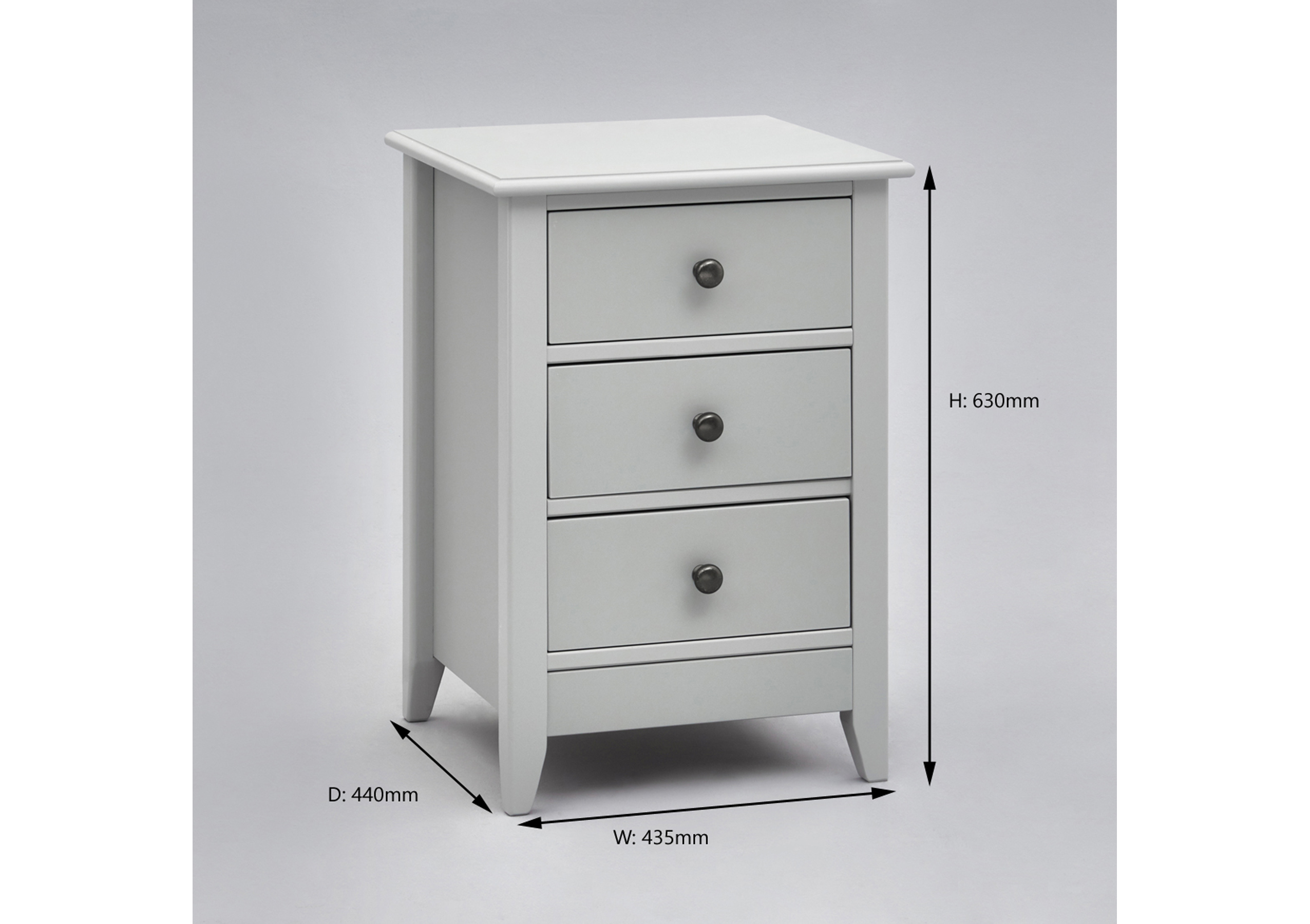 Jubilee 3 Drawer Grey Bedside Table Room To Grow