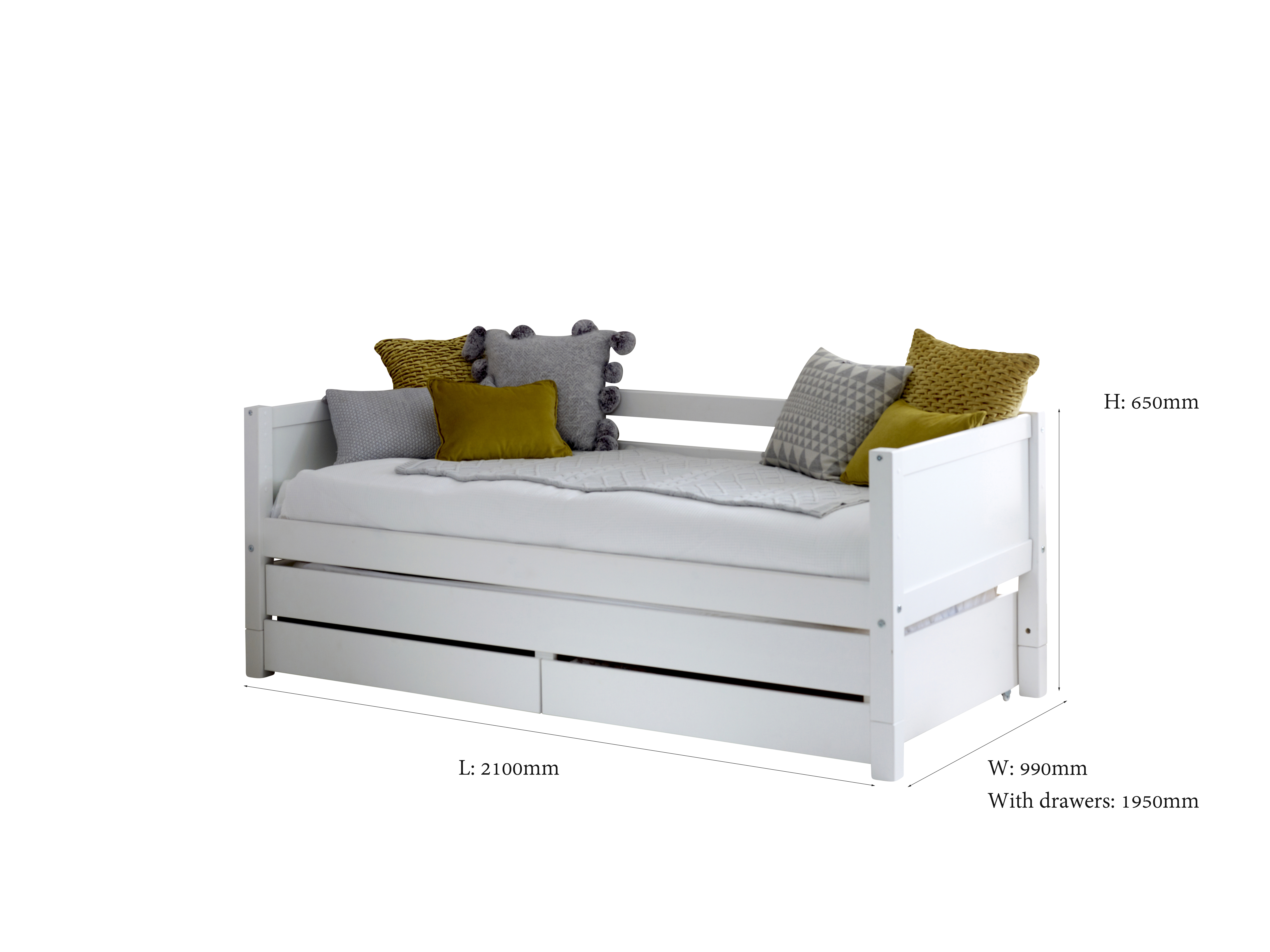 Flexa Nordic Day Bed With Drawers And Trundle