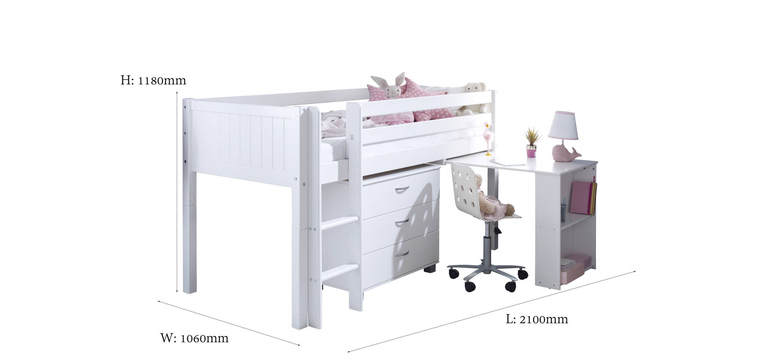 white cabin bed with desk
